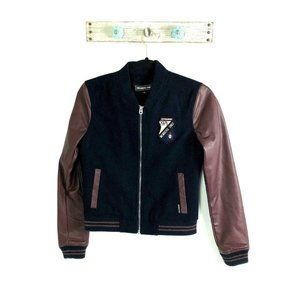 Members Only XS Black Brown Bomber Jacket Patch